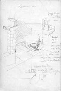 Carl Koch, Skizze des Kamins im Kalefaktorium