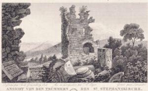 Ruine des Michaelsklosters 1814 (Stahlstich von de Graimberg) © KMH