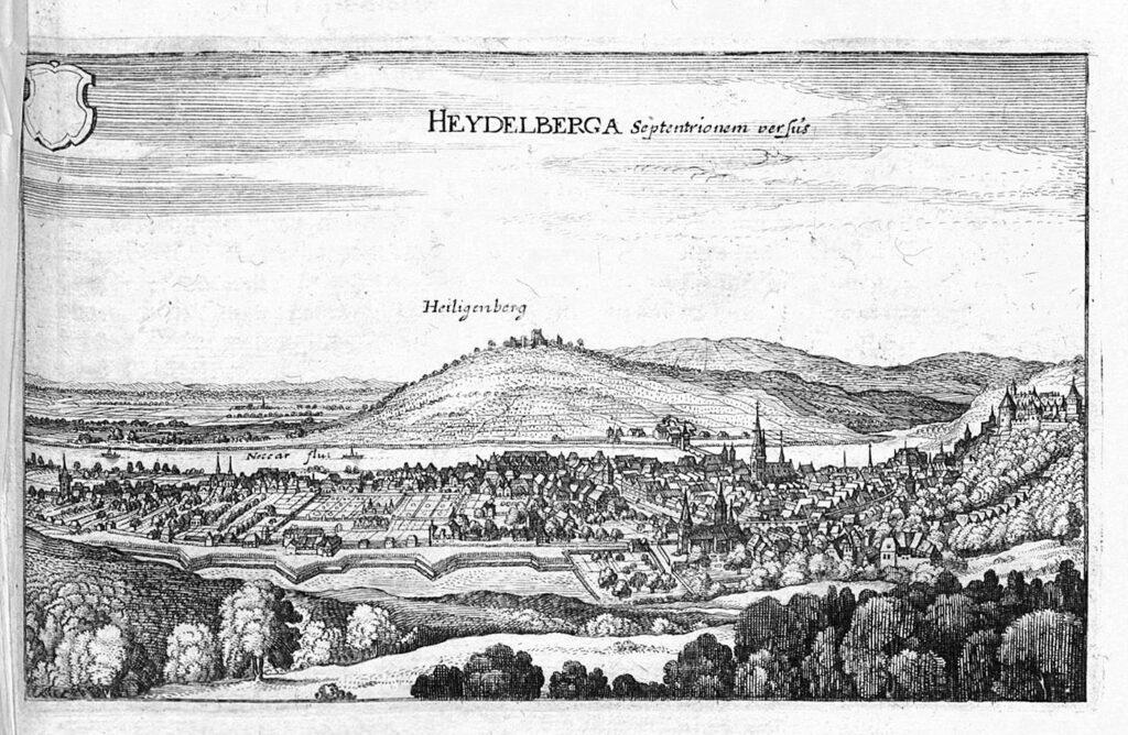 Heidelberg mit Heiligenberg 1654. Merian
