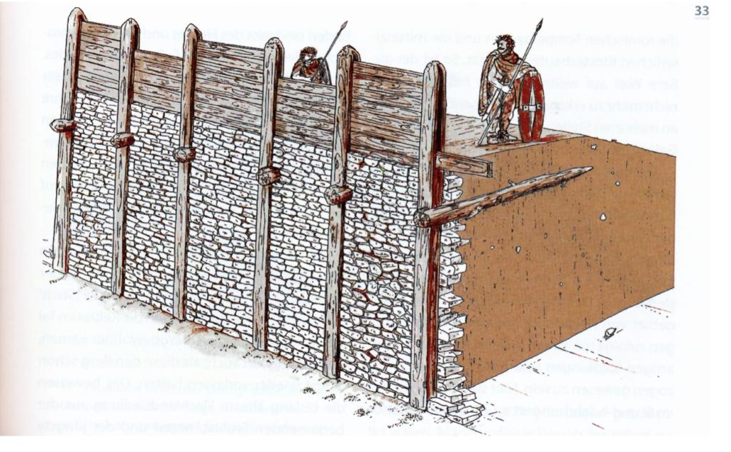 Keltische Pfostenschlitzmauer © KMH (B. Pfeifroth/P. Marzolff).